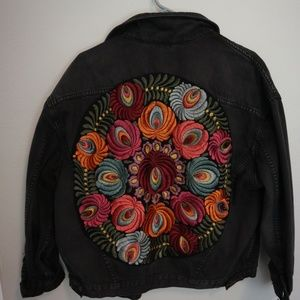 Free People Oversized Denim Jacket with Embroidery
